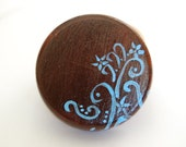 Wood Ring Box, blue and brown design, custom wedding ring box