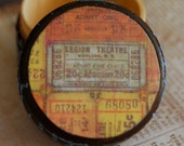 RESERVED LISTING for Reptarsgirl -- Wood Ring Box, Vintage Theatre Tickets