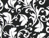 Black and white scroll print fabric 2 yards