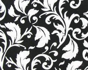 Black and white scroll print fabric 1 yard