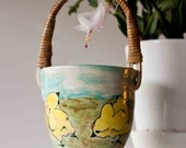 Ceramic Bowl with a handle and little chickens