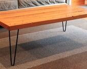 Coffee table - Wood top with hairpin legs. Salvaged Eco Wormwood Cedar