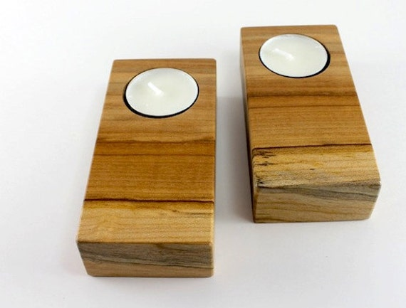 Candle Holders - Locally salvaged Maple tea light holders (Set of 2) Wedding Gift SALE SALE