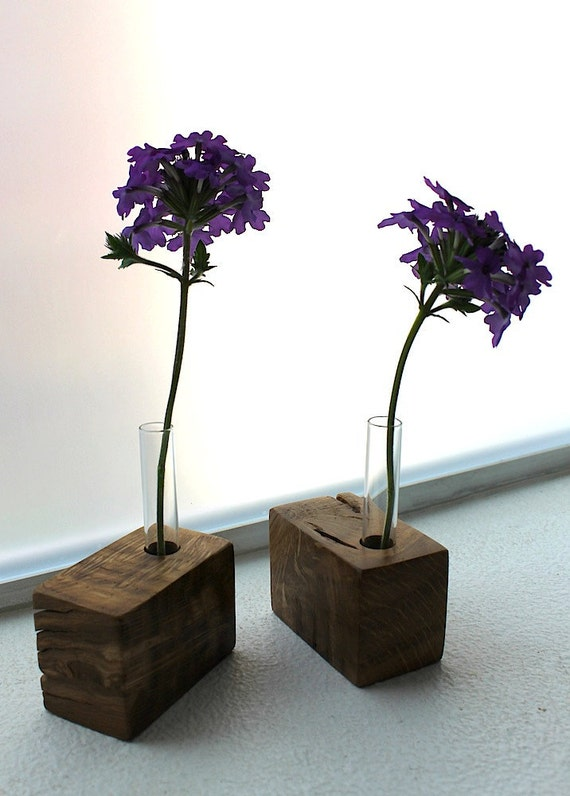 Flower vases - Locally Salvaged Garry Oak Bud Vases (pair) - Eco Friendly