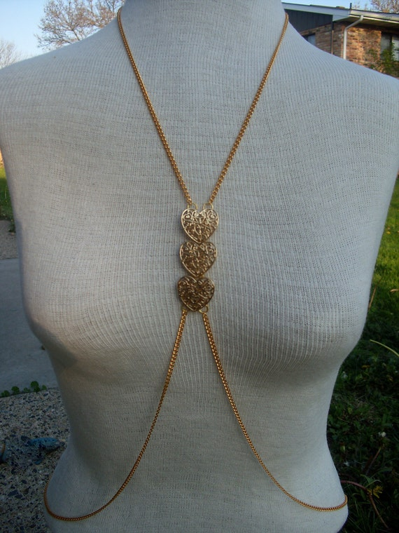 Gold, Heart Body Chain/ Chain Necklace Harness