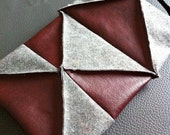 Grey and Burgundy Lantern Bag, collapsable, origami inspired