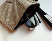 Square Wool Felt Wristlet, purse, bag, handbag, clutch -- The Rising Sun Wristlet