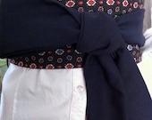 OBI BELT, Waist Cincher, Sash Belt Cummerbund, Reversable, Vintage Navy Blue Pattern OOAK