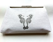 SEA OF LOVE White  Reclaimed Linen Clutch Seahorse graphic- upcycled reclaimed fabric- silver clasp