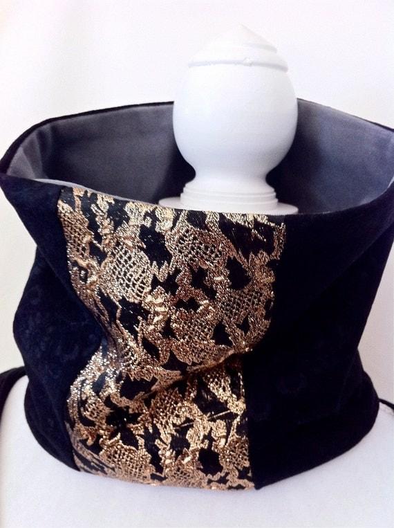"Collar Scarf, Neckwarmer, Cowl  reclaimed vintage repurposed shiny sparkly foiled black gold warm winter skiwear dressy- ""Eva"""