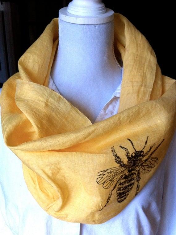 "Yellow Linen Infinity Collar Scarf , Cowl, Spring Bee- ""BEE the BUZZ"""