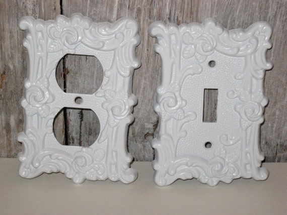 shabby chic switch plate white vintage outlet cover