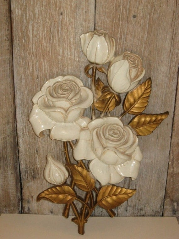 1962 vintage homco hollywood regency wall decor roses for Hollywood regency wall decor