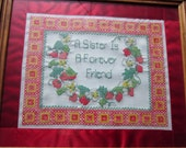 "Hand Emboridered Cross Stitch Sampler 15"" x 13"" - Sisters"