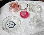 Pink Depression Glass,Souvenir Ashtray,Carnvial Glas, Deco Ashtray, Candle Holder