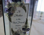 Mother Poem Dried Flowers Beveled Glass Double Sided