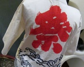 50% Discount    Asian Jacket White with Red Symbols