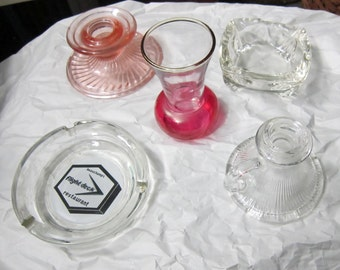 Pink Depression Glass,Souvenir Ashtray,Carnvial Glas, Deco Ashtray, Candle Holder