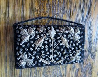 Ornate Beaded Black Velvet Purse - Made in India 1960s