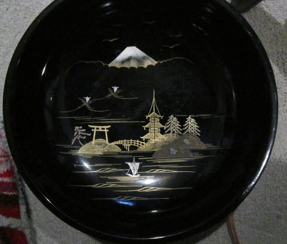 1950's Vintage Set Hand Painted Aizu Cherry Wood Lacquerware.