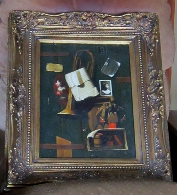 Art Oil on Canvas Trompe LOeil  Museum Frame - 24 x 28 - Musical Art