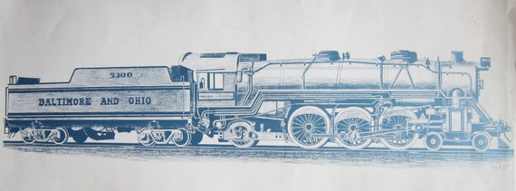 B & O Railroad Engine/ Car Drawing Baltimore and Ohio