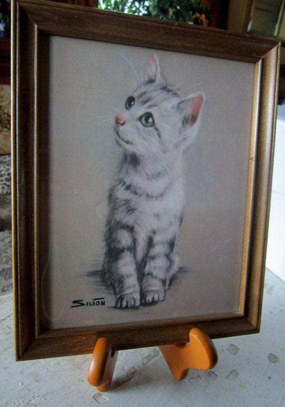 Vintage Silton Kitten Art - Mid Century