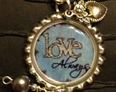LOVE ALWAYS purse bling, silver bottle cap with lobster claw clasp and beads, gift idea