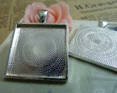 5pcs 28x36mm -25x25mm Antique Silver Square Cameo Cabochon Base Setting pendants .D305-17