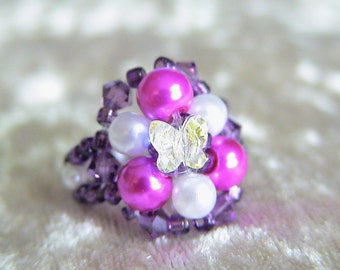 Cerise Glass Pearl Beaded Ring