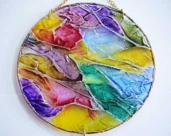 Wall Glass Art Multicolor Round Panel