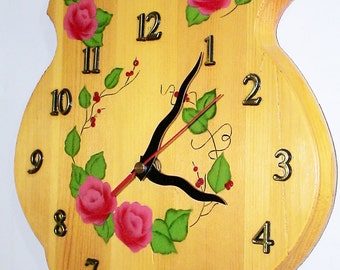 Floral Wooden Pine Wall Clock