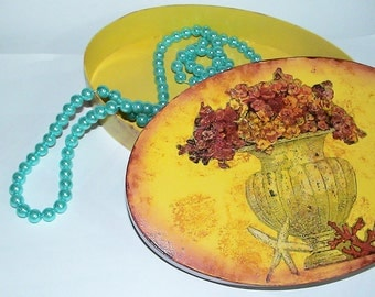 Yellow Vintage Style Wooden Jewelry Box