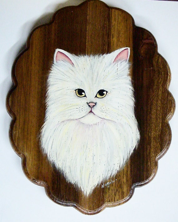 White Persian Cat Painting on Wood
