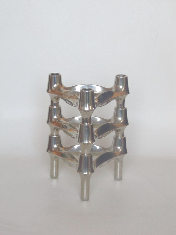 candle holders designed by Ceasar Stoffi and Fritz Nagel and manufactured by BMF (Bayerische Metallwaren Fabrik) Set of Three & stackable