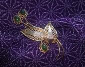 Vintage 1960s Gold Metal Filligree Jadeite Blossom Brooch