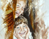 Custom oil portrait, children portrait, oil painting