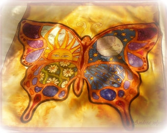 Silk scarf Butterfly of life - silk art, wall decoration, handpainted