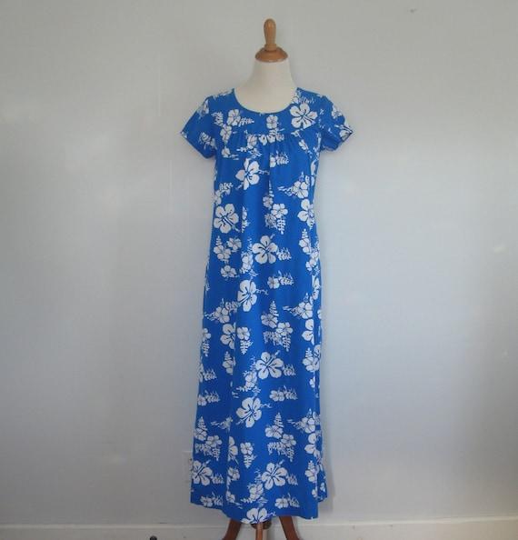 1970s hawaiian maxi dress / the blue hawaii dress