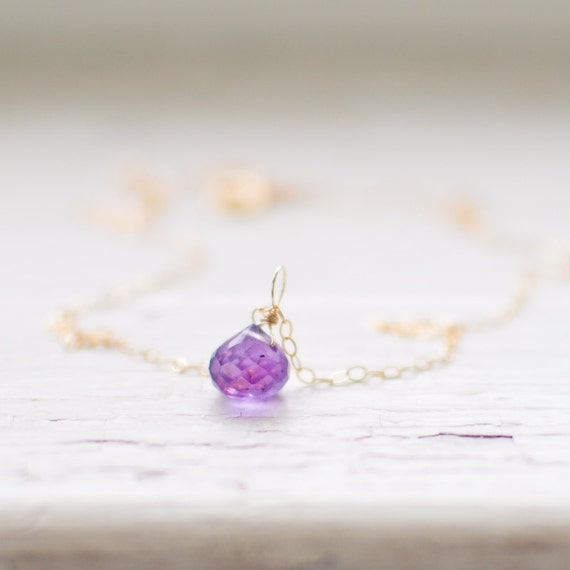 amethyst onion necklace - fine 14k gold fill chain - colorful minimalist jewelry - plum tiny bubble