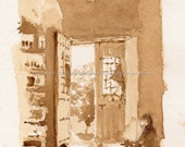 "Original Painting, 9in x 6in, ""Caferela en Cuatro Sombras"" made with coffee on watercolor paper by Luis E. Aparicio"