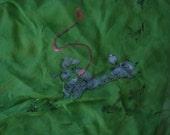 Vintage Green Silk Scarf, Silk Crepe, Poodle Print Scarf, Emerald Green Scarf, Embellished
