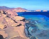 Acrylic painting on canvas - Turquoise sea Almeria Coast, Spain - Large, Free-shipping .