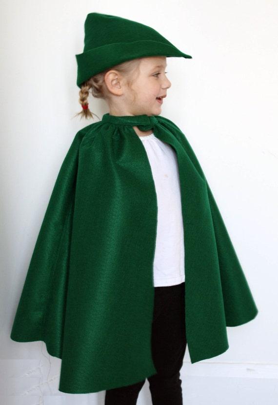 Kid Dress Up Costume Fairy Tale Cape Kelly Green Felt  - Robin Hood Prince Charming Halloween