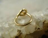 Small Hoop Earring Solid Gold Hammered SINGLE - Mens Hoop Earring, Tragus Hoop, Rook Hoop, Helix Hoop, Solid Gold Hoop Earring, Yellow