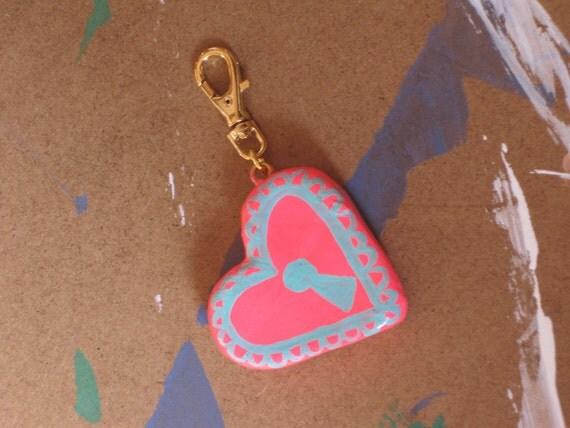 NEON heart LOCKET CHARM -- polymer clay heart shaped pin
