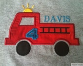 Personalized Fire Truck Birthday Shirt