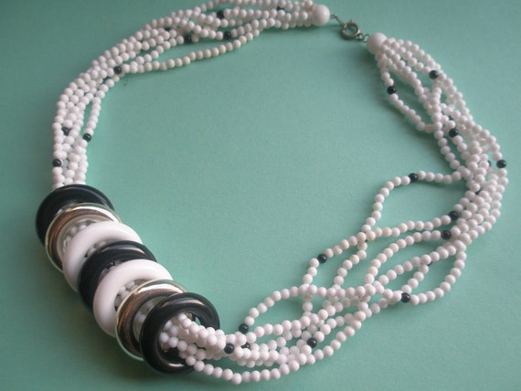 SALE-80s Black and White beaded plastic necklace, 6 strand, 7 interchangeable rings, original 80's, egst, Greece