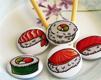 Sushi 1.5 inch Buttons (Set of 5)