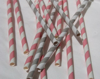 Paper Straws in Light Pink and White Stripes and Grey and White Stripes, Pack of 50